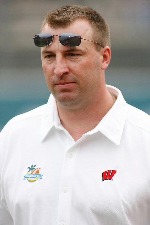 University of Wisconsin head coach Bret Bielema watches his team warm up before the Wisconsin Badgers 17-14 victory over the Arkansas Razorbacks in the Capital One Bowl at the Florida Citrus Bowl Stadium in Orlando, Florida on January 1, 2007.