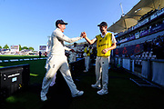 England win - Jonny Bairstow of England leaves the field and is congratulated after England win the test series with a match to spare during the 4th day of the 4th SpecSavers International Test Match 2018 match between England and India at the Ageas Bowl, Southampton, United Kingdom on 2 September 2018.