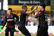 Wicket - Tom Lammonby of Somerset celebrates taking the wicket of A.B De Villiers of Middlesex with catcher Max Waller of Somerset during the Vitality T20 Blast South Group match between Somerset County Cricket Club and Middlesex County Cricket Club at the Cooper Associates County Ground, Taunton, United Kingdom on 30 August 2019.