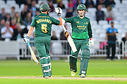 Tom Moores and Steven Mullaney during the Natwest T20 Blast North Group match between Nottinghamshire County Cricket Club and Worcestershire County Cricket Club at Trent Bridge, West Bridgford, United Kingdom on 26 July 2017. Photo by Simon Trafford.