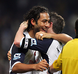 MANCHESTER, ENGLAND - WEDNESDAY, JANUARY 4th, 2006:Tottenham Hotspur's Robbie Keane celebrates scoring the second goal against  Manchester City with his team-mate Mido during the Premiership match at the City of Manchester Stadium. (Pic by David Rawcliffe/Propaganda)