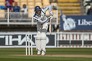 Yorkshire Jack Leaning takes a nasty delivery in the midriff  during the Specsavers County Champ Div 1 match between Warwickshire County Cricket Club and Yorkshire County Cricket Club at Edgbaston, Birmingham, United Kingdom on 24 April 2016. Photo by Simon Davies.
