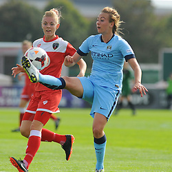 Bristol Academy Womens' Sophie Ingle goes in for a challenge. - Photo mandatory by-line: Nizaam Jones- Mobile: 07583 387221 - 28/09/2014 - SPORT - Women's Football - Bristol - SGS Wise Campus - BAWFC v Man City Ladies - sport