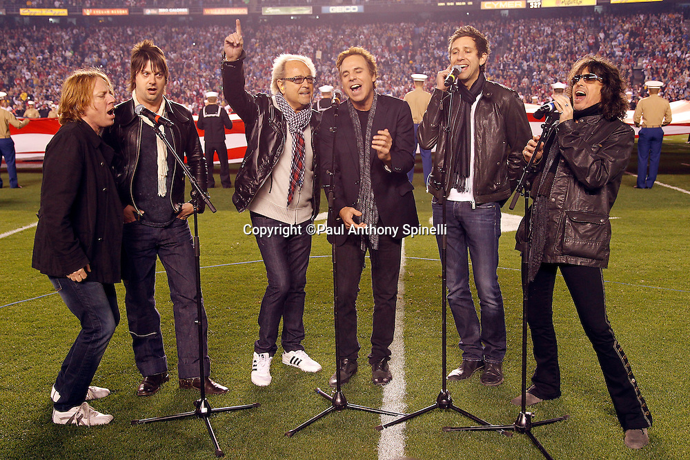 Rock band Foreigner performs the National Anthem prior to the San Diego Chargers NFL week 15 football game against the San Francisco 49ers on Thursday, December 16, 2010 in San Diego, California. The Chargers won the game 34-7. (©Paul Anthony Spinelli)