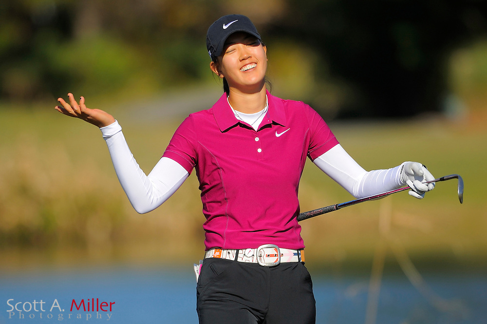 Dec. 7, 2008; Daytona, FL, USA; Michelle Wie celebrates a chip-in birdie on the 17th hole during the final round of LPGA Qualifying School on the Champions Course at LPGA International. ......©2008 Scott A. Miller