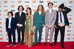 """Actors (from left): Sunny Suljic, Gio Galicia, Alexa Demie, Olan Prenatt, Ryder McLaughlin and Na-kel Smith arrive ahead of the screening of """"MID90s"""" during the Toronto International Film Festival in Toronto, ON, Canada on Sunday, September 9, 2018. Photo by Christopher Katsarov/CP/ABACAPRESS.COM"""