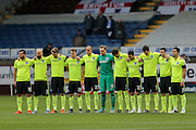 Minutes silence for Paris during the Sky Bet Championship match between Burnley and Brighton and Hove Albion at Turf Moor, Burnley, England on 22 November 2015. Photo by Simon Davies.