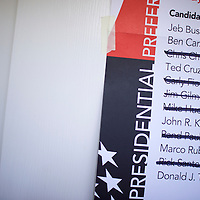 "Walterboro, SC - FEBRUARY 20:  Former Republican Presidential candidates are crossed off a poster within the Aimwell Presbyterian Church polling precinct in Walterboro, SC on February 20, 2016.  Statewide voters will cast ballots today in the South Carolina Republican Presidential Primary, the ""first in the south.""  (Photo by Mark Makela/Getty Images)"