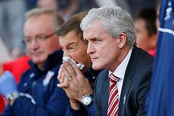 Stoke City Manager Mark Hughes looks on - Photo mandatory by-line: Rogan Thomson/JMP - 07966 386802 - 19/10/2014 - SPORT - FOOTBALL - Stoke-on-Trent, England - Britannia Stadium - Stoke City v Swansea City - Barclays Premier League.
