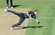 Tim Southee goes for a catch during the ICC Cricket World Cup match between New Zealand and Scotland at university oval in Dunedin, New Zealand. Photo: Richard Hood/photosport.co.nz