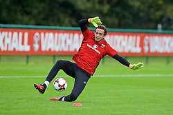 CARDIFF, WALES - Friday, September 2, 2016: Wales' goalkeeper Daniel Ward during a training session at the Vale Resort ahead of the 2018 FIFA World Cup Qualifying Group D match against Moldova. (Pic by David Rawcliffe/Propaganda)