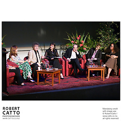 Writers Mayra Montero, Paul Muldoon, Ian McEwan, Christian Bok and Sia Figiel share the stage with RadioNZ's Lynn Freeman at the Gala Opening of NZ Post Writers & Readers Week at the New Zealand International Arts Festival 2008 in Wellington..