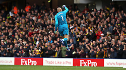 Watford goalkeeper Heurelho Gomes celebrates after Etienne Capoue (not pictured) scores his side's first goal of the game during the FA Cup quarter final match at Vicarage Road, Watford.