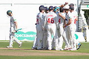 WICKET - Glamorgan celebrate as Harry Swindells is out during the Specsavers County Champ Div 2 match between Glamorgan County Cricket Club and Leicestershire County Cricket Club at the SWALEC Stadium, Cardiff, United Kingdom on 19 September 2019.