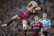 BRISBANE, AUSTRALIA - JULY 09: Billy Slater of the Maroons catches the high ball during game three of the State of Origin series between the Queensland Maroons and the New South Wales Blues at Suncorp Stadium on July 9, 2014 in Brisbane, Australia.  (Photo by Matt Roberts/Getty Images)