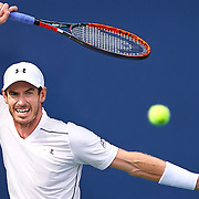 AUG 21, 2016:  Andy Murray of Great Britain returns the ball to Marin Cilic of Croatia during the men's final of the Western and Southern Open at the Lindner Family Tennis Center in Mason, OH. Cilic went on to win the match 6-4, 7-5. (Photo by Shelley Lipton/Icon Sportswire)