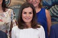 Queen Letizia of Spain attends Audience to a representation of the Spanish Association of Periodical Publications Publishers (AEEPP) at Zarzuela Palace on June 27, 2019 in Madrid, Spain