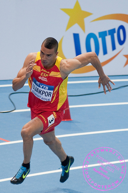 Mark Ujakpor of Spain competes in men's 400 meters qualification during the IAAF Athletics World Indoor Championships 2014 at Ergo Arena Hall in Sopot, Poland.<br /> <br /> Poland, Sopot, March 7, 2014.<br /> <br /> Picture also available in RAW (NEF) or TIFF format on special request.<br /> <br /> For editorial use only. Any commercial or promotional use requires permission.<br /> <br /> Mandatory credit:<br /> Photo by &copy; Adam Nurkiewicz / Mediasport