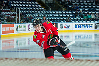 KELOWNA, CANADA - APRIL 8: Colton Veloso #39 of the Portland Winterhawks warms up against the Kelowna Rockets on April 8, 2017 at Prospera Place in Kelowna, British Columbia, Canada.  (Photo by Marissa Baecker/Shoot the Breeze)  *** Local Caption ***