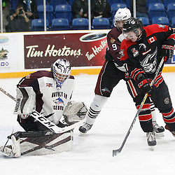 "TRENTON, ON  - MAY 2,  2017: Canadian Junior Hockey League, Central Canadian Jr. ""A"" Championship. The Dudley Hewitt Cup. Game 1 between Dryden GM Ice Dogs and the Georgetown Raiders.  Patrick Zubick #1 of the Dryden GM Ice Dogs  makes the save during the first period.  <br /> (Photo by Tim Bates / OJHL Images)"