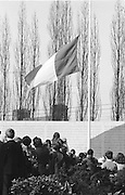 Irish flag raised and attendees of the GAA Annual Congress at the Garden of Remembrance, Parnell Square, Dublin during a luncheon interval of congress...Annual Congress, GAA. 6.4.1969. 6th April 1969