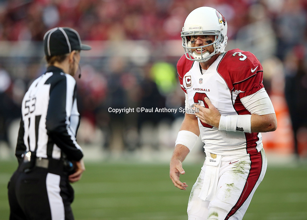 Arizona Cardinals quarterback Carson Palmer (3) complains about a call to line judge Sarah Thomas (53) the 2015 week 12 regular season NFL football game against the San Francisco 49ers on Sunday, Nov. 29, 2015 in Santa Clara, Calif. The Cardinals won the game 19-13. (©Paul Anthony Spinelli)