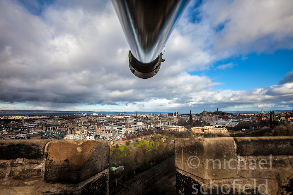 Edinburgh as seen from the barrel of The One O'Clock Gun on the Edinburgh Castle Esplanade.