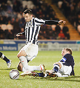Dundee's Gary Irvine  tackles St Mirren's Steven Thompson  - St Mirren v Dundee, Clydesdale Bank Scottish Premier League at St Mirren Park.. - © David Young - www.davidyoungphoto.co.uk - email: davidyoungphoto@gmail.com