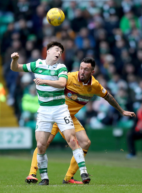 Celtic's Kieran Tierney and Motherwell's Scott McDonald battle for the ball during the Ladbrokes Scottish Premiership match at Celtic Park, Glasgow. PRESS ASSOCIATION Photo. Picture date: Saturday February 18, 2017. See PA story SOCCER Celtic. Photo credit should read: Jane Barlow/PA Wire. EDITORIAL USE ONLY