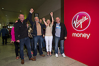 The opening of the Virgin Marathon London Marathon Expo 2015<br /> <br />  The first runners queuing to register to receive their bibs.<br /> L to R<br /> Craig Share (Glasses on forehead)<br /> Vick Oliver (with beard)<br /> Sally Thomson (Blond)<br /> Joey Keegan (crew cut hair)<br /> <br /> <br /> Virgin Money London Marathon 2015<br /> <br /> <br /> Photo: Bob Martin for Virgin Money London Marathon<br /> <br /> This photograph is supplied free to use by London Marathon/Virgin Money.