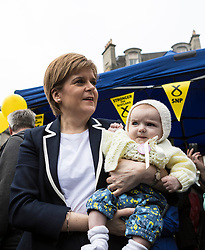 The First Minister, Nicola Sturgeon, campaigning in Leith by campaigning that the SNP will be a voice for young people.<br /> <br /> Pictured: Nicola Sturgeon with 11 week old Flora Tompson