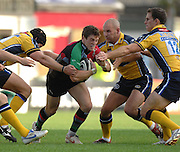 Twickenham, GREAT BRITAIN, Leeds player gather around Quins Tom WILLIAMS, during the Guinness Premiership match Harlequins vs Leeds Carnegie, at Twickenham Stoop. England, Sat 22.09.2007  [Mandatory Credit, Peter Spurrier/Intersport-images].....