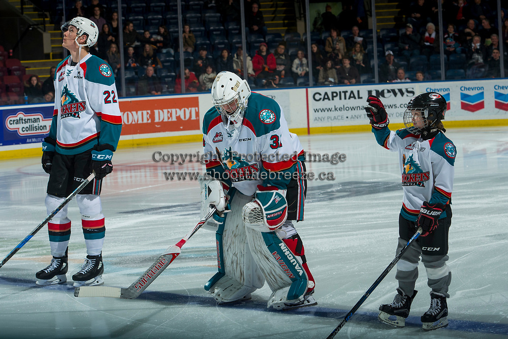 KELOWNA, CANADA - FEBRUARY 23: Graydon Macdonald stands on the blue line as the Pepsi Player of the game against the Seattle Thunderbirds  on February 23, 2018 at Prospera Place in Kelowna, British Columbia, Canada.  (Photo by Marissa Baecker/Shoot the Breeze)  *** Local Caption ***