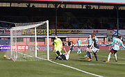 1st April 2018, Dens Park, Dundee, Scotland; Scottish Premier League football, Dundee versus Heart of Midlothian; Sofien Moussa of Dundee scores for 1-1