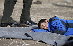A child migrant sleeps on a blanket on the ground as refugees and migrants wait to continue their journey towards western Europe from the Macedonia-Serbia border at a transit camp in the village of Presevo, Serbia, February 2, 2016. REUTERS/Darrin Zammit Lupi MALTA OUT. NO COMMERCIAL OR EDITORIAL SALES IN MALTA - RTX255SR