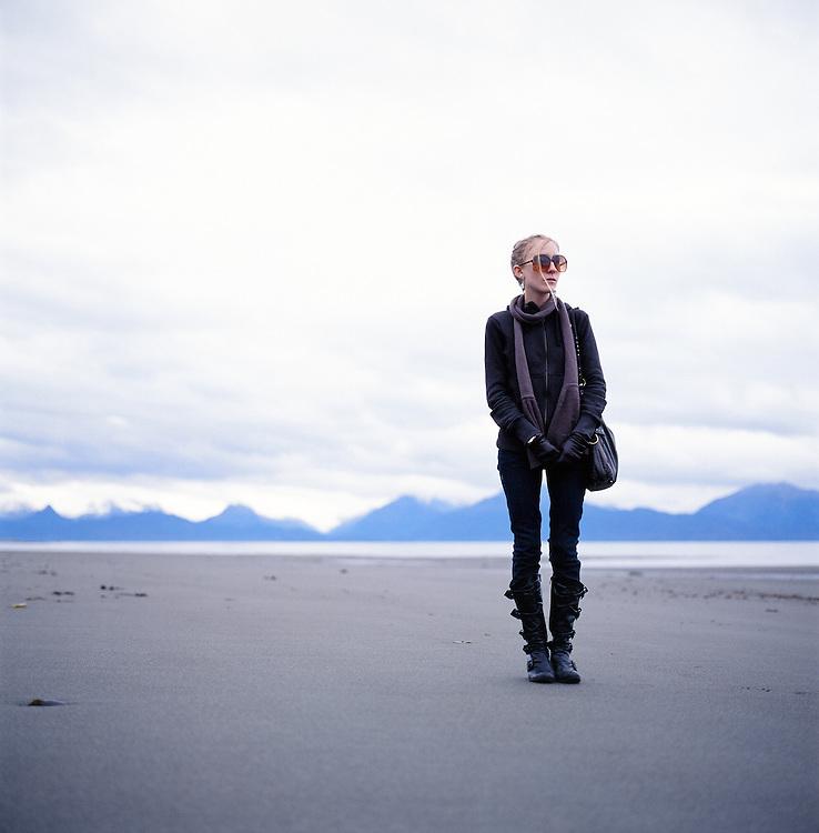 Poet Ash Adams in Homer, Alaska. 2009