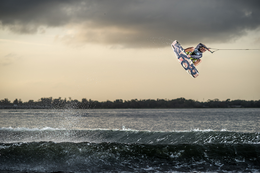 Erik Ruck shot for Transworld Wakeboarding Magazine on CLear Lake in Orlando, Florida.