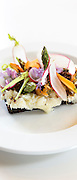 Lunch snacks cod fish Smorrebrod - smorgasbord Nordic open sandwich on minimalist white china plate - in Denmark