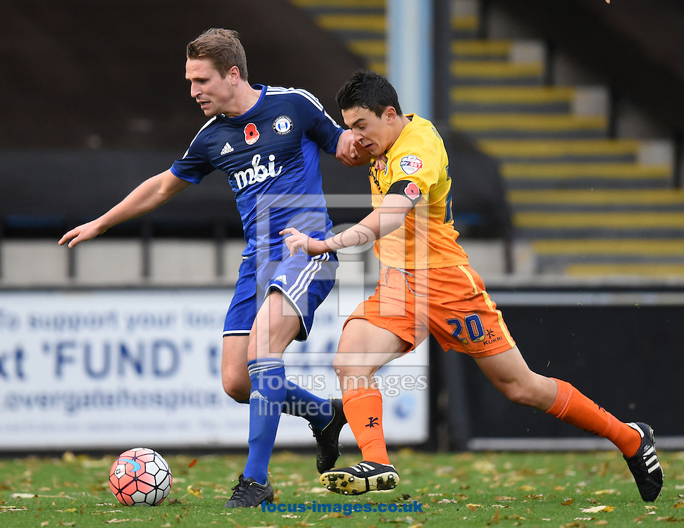 Sam Walker of FC Halifax and Luke O&rsquo;Neill of Wycombe Wanderers during the FA Cup match at Shay Stadium, Halifax<br /> Picture by Richard Land/Focus Images Ltd +44 7713 507003<br /> 08/11/2015