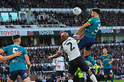 Ryan Tafazolli heads for goal during the EFL Sky Bet Championship match between Derby County and Hull City at the Pride Park, Derby, England on 18 January 2020.