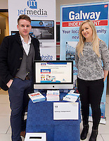27/01/2014<br /> Jonathon Hayes MD Jeff Media and Claire Hennessy Galway Independent  at the SCCUL enterprise awards EXPO at the bailey Allen in NUIG<br /> Photo:Andrew Downes