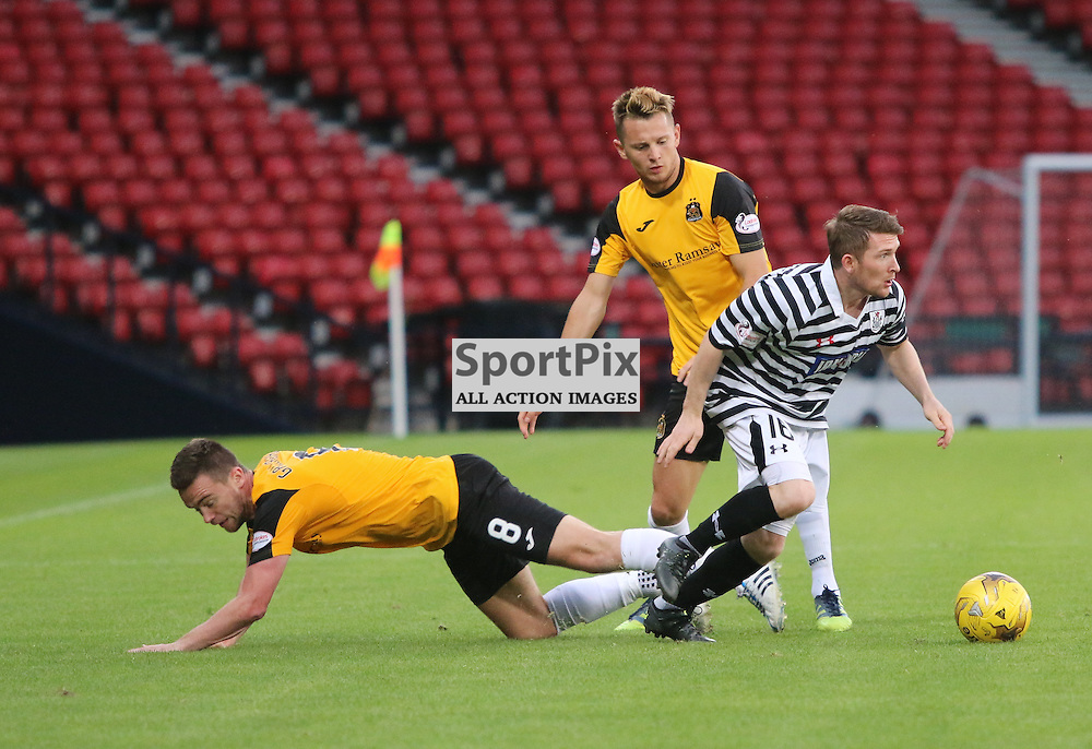 Gallagher stumbles as he tries to get the ball back during the Queens Park FC V Dumbarton FC Petrofac Training Cup 18th August 201(c) Andy Scott   SportPix.org.uk