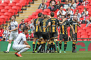 Morpeth Town players celebrate scoring their fourth goal. 4-1 during the FA Vase match between Hereford and Morpeth Town at Wembley Stadium, London, England on 22 May 2016. Photo by Mark Doherty.