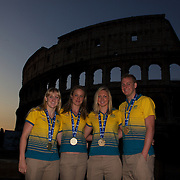 Australian Gold medal winners during a 6am photo shoot outside the  Coloseum. Pictured from left to right are Jessicah Schipper, Marieke Guehrer, Melissa Gorman and Brenton Rickard in Rome, Italy on  Monday, August 03, 2009. Photo Tim Clayton