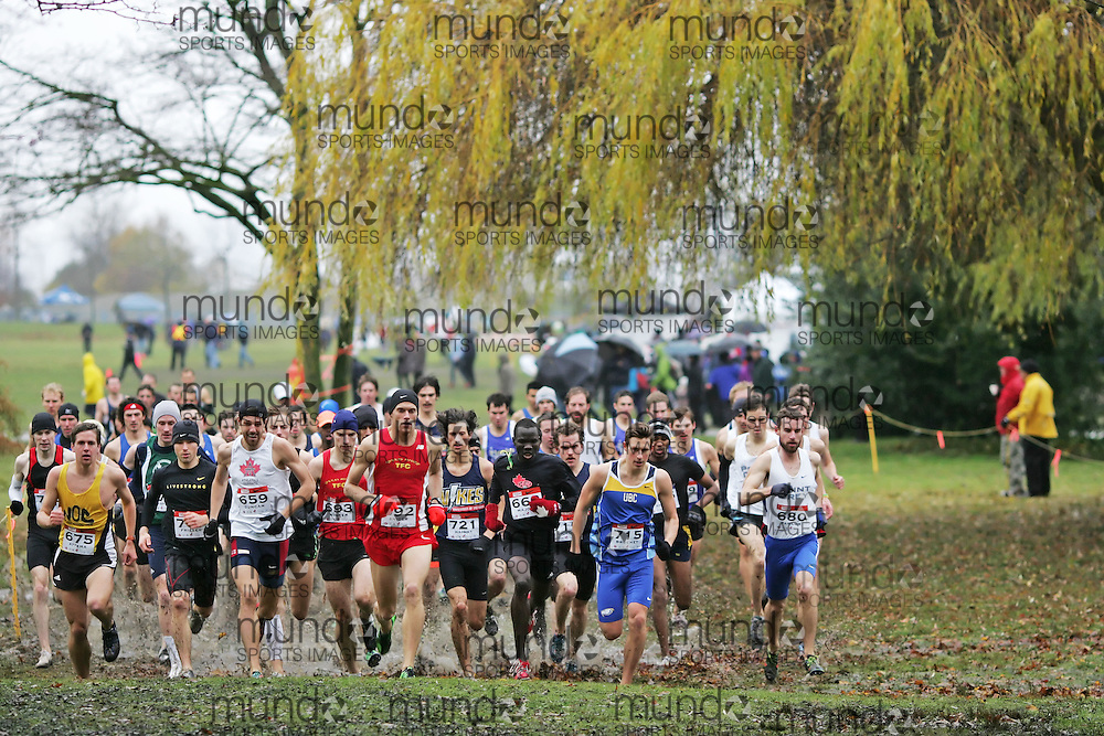 (Vancouver, Canada---26 November 2011) \Terance Attema (675), Justin Duncan (659), Derek Snider (692), Nyial Majock (663), Lucas Bruchet (715), Samuel Pawluk (680)\ running in the senior mens race at the 2011 Athletics Canada National Cross Country Championships held at Jericho Beach Park. Photograph 2011 Copyright Sean Burges / Mundo Sport Images. For usage terms contact info@mundosportimages.com or seanburges@yahoo.com.