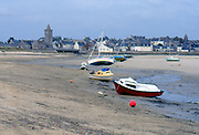 France, Normandy.  Port bail, village with boats.