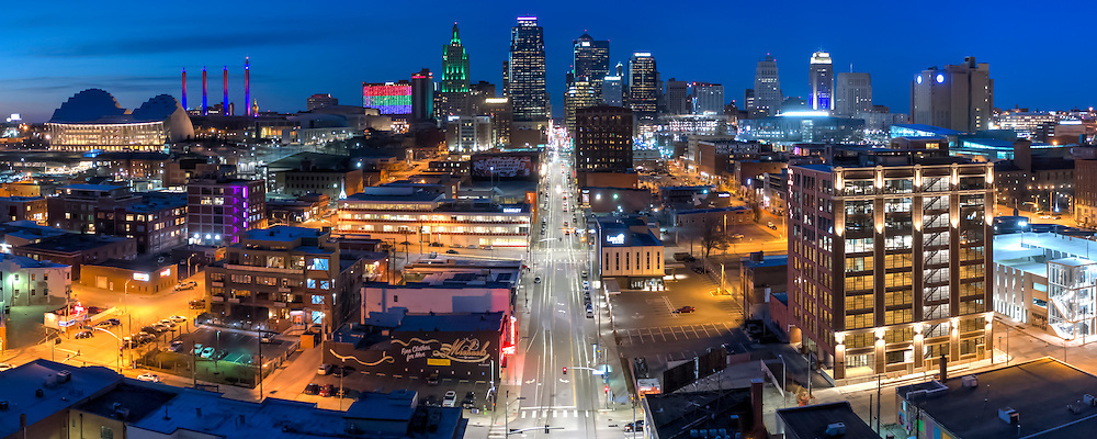 Kansas City Missouri; downtown skyline panorama photo with Crossroads Arts District and Main Street in foreground.