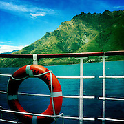 A life buoy on the TSS Earnslaw, the 100 year old vintage coal fired passenger steam ship which sails on Lake Wakatipu, Queenstown, New Zealand. The popular tourist attraction is celebrating it's centenary year with celebrations planned for October 2012.  Queenstown, Central Otago, New Zealand. 29th February 2012. Photo Tim Clayton