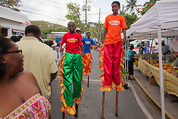 "(L-R) Zaiden Smith, Kyree Thomas, Kelan Brathwhite, and Kemoi Thomas experience the food fair from up high.  The Festival & Cultural Organization of St. John Presents It's Annual Food Fair honoring Delroy ""Ital"" Anthony and Royal Coronation 2016.  Franklin A. Powell, Sr. Park.  St. John, US Virgin Islands.  26 June 2016.  © Aisha-Zakiya Boyd"