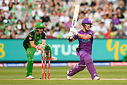 14th January 2019, Melbourne Cricket Ground, Melbourne, Australia; Australian Big Bash Cricket, Melbourne Stars versus Hobart Hurricanes;  Sebastian Gotch of the Melbourne Stars attempts to stump  D'Arcy Short of the Hobart Hurricanes